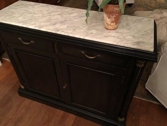 Vintage Black Cabinet Marble Top