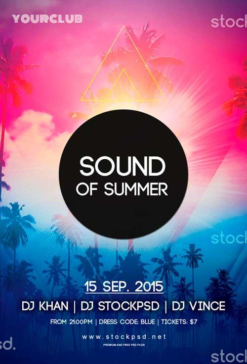 Sound Of Summer Free Psd Flyer Template  Flyer    Free