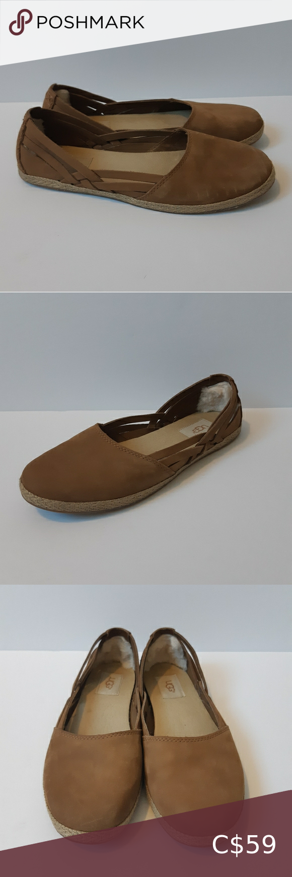 Ugg Nubuck Suede Flats with Woven Sides
