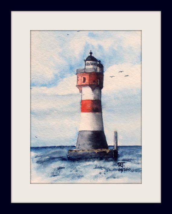 By Ruth Trinczek, Aquarell, Unikat  Leuchtturm Roter Sand, 13x18 cm