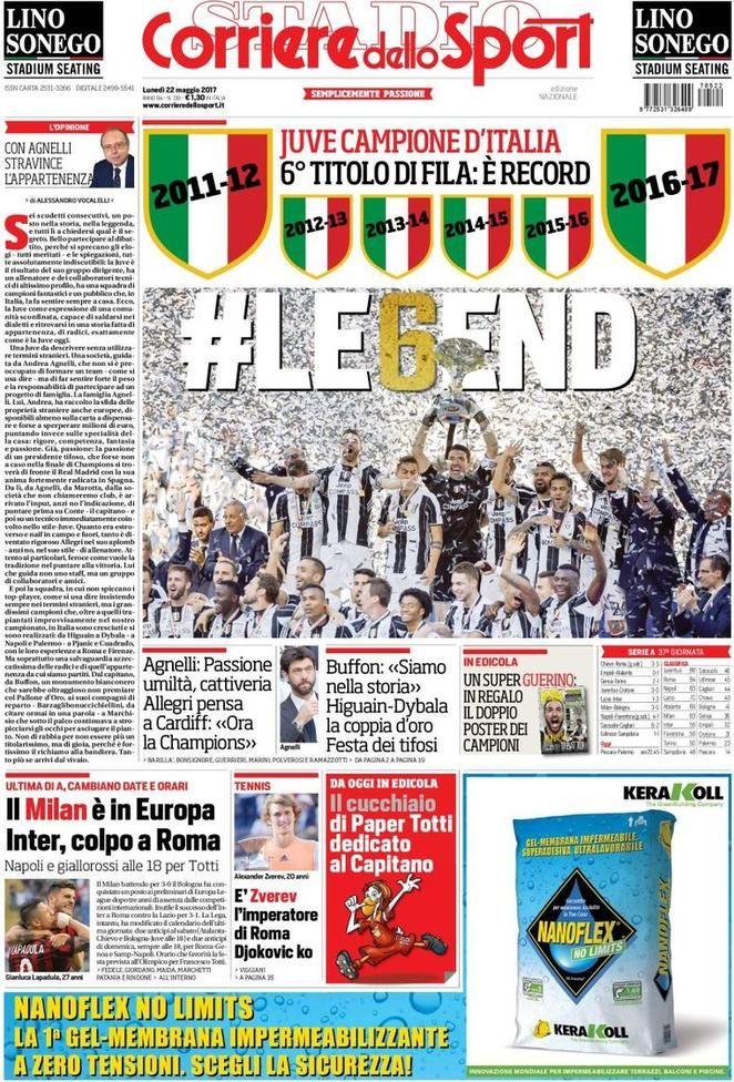 Prima Pagina Corriere dello Sport 22/05/2017 Sport, Foto