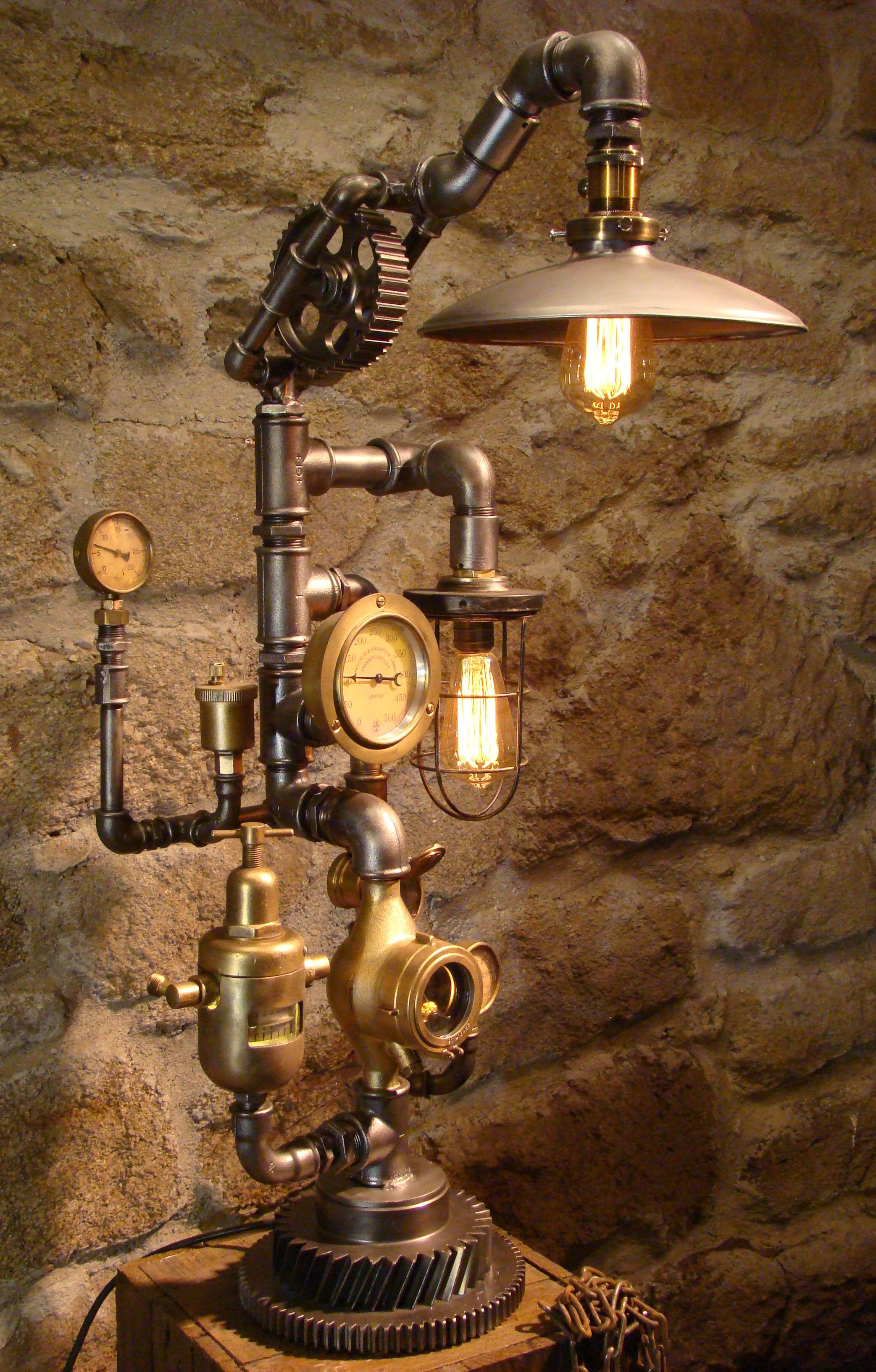 Steampunk Lamp With Two Edison Bulbs And Led Light In Steam Gauge