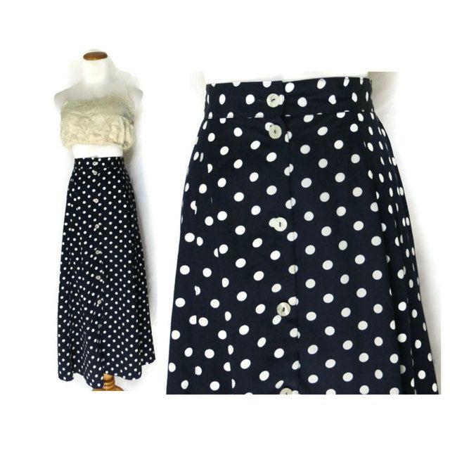 Polka Dot Skirt / Maxi Skirt / High Waisted Skirt / Blue Polka Dot Skirt / A-line Skirt / 80s Skirt / 90s Skirt / Medium Skirt by GoodLuxeVintage on Etsy