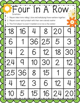 Four In A Row Multiplication Games Multiplication Games