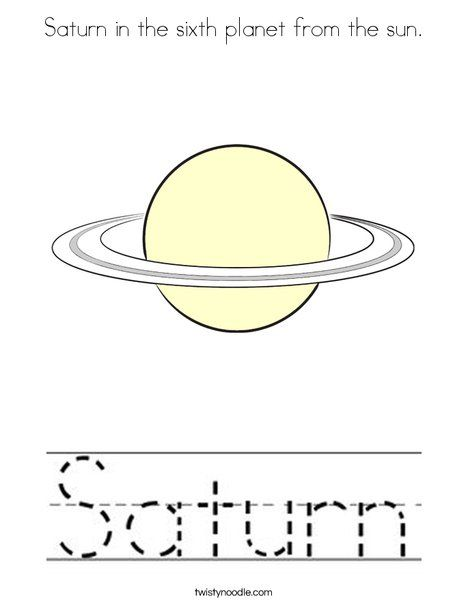Saturn In The Sixth Planet From The Sun Coloring Page Twisty