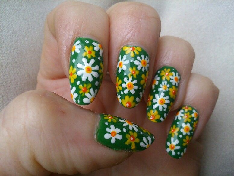 Bottle green with yellow and white flowers nail design | Norma\'s ...