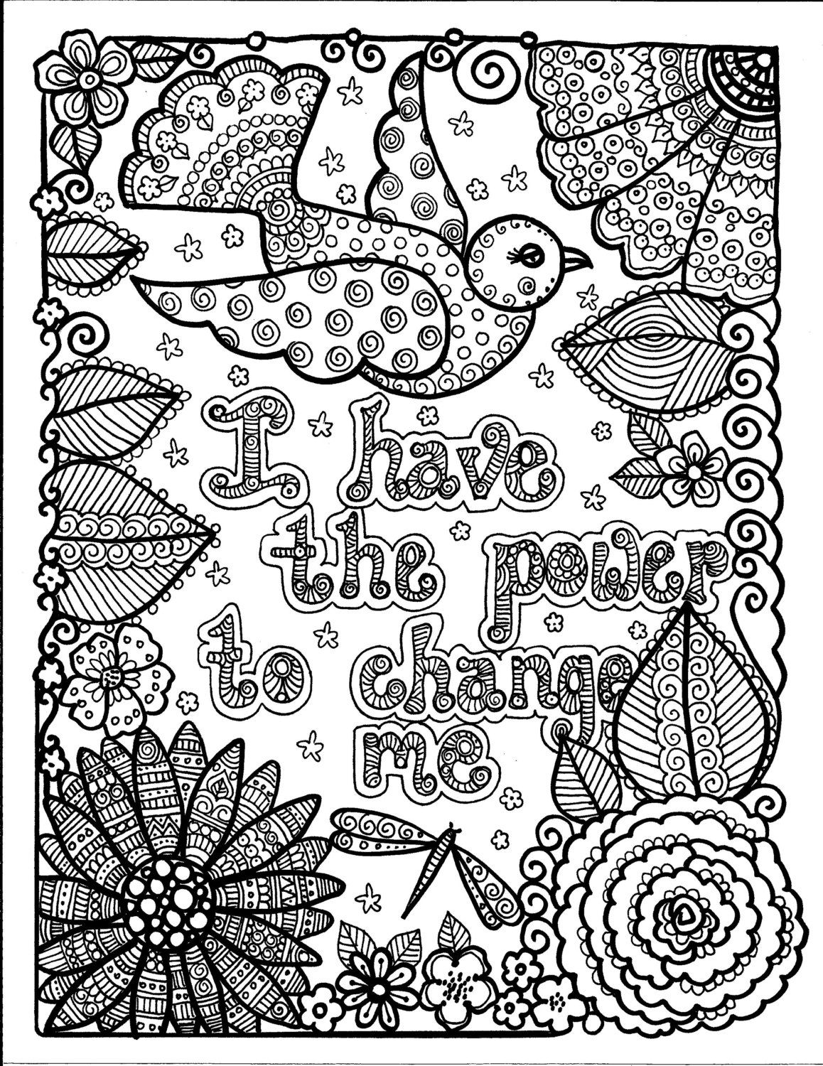 Instant Download Just Be Inspirational Art For You To Color Yoga Meditation Fun Coloring For