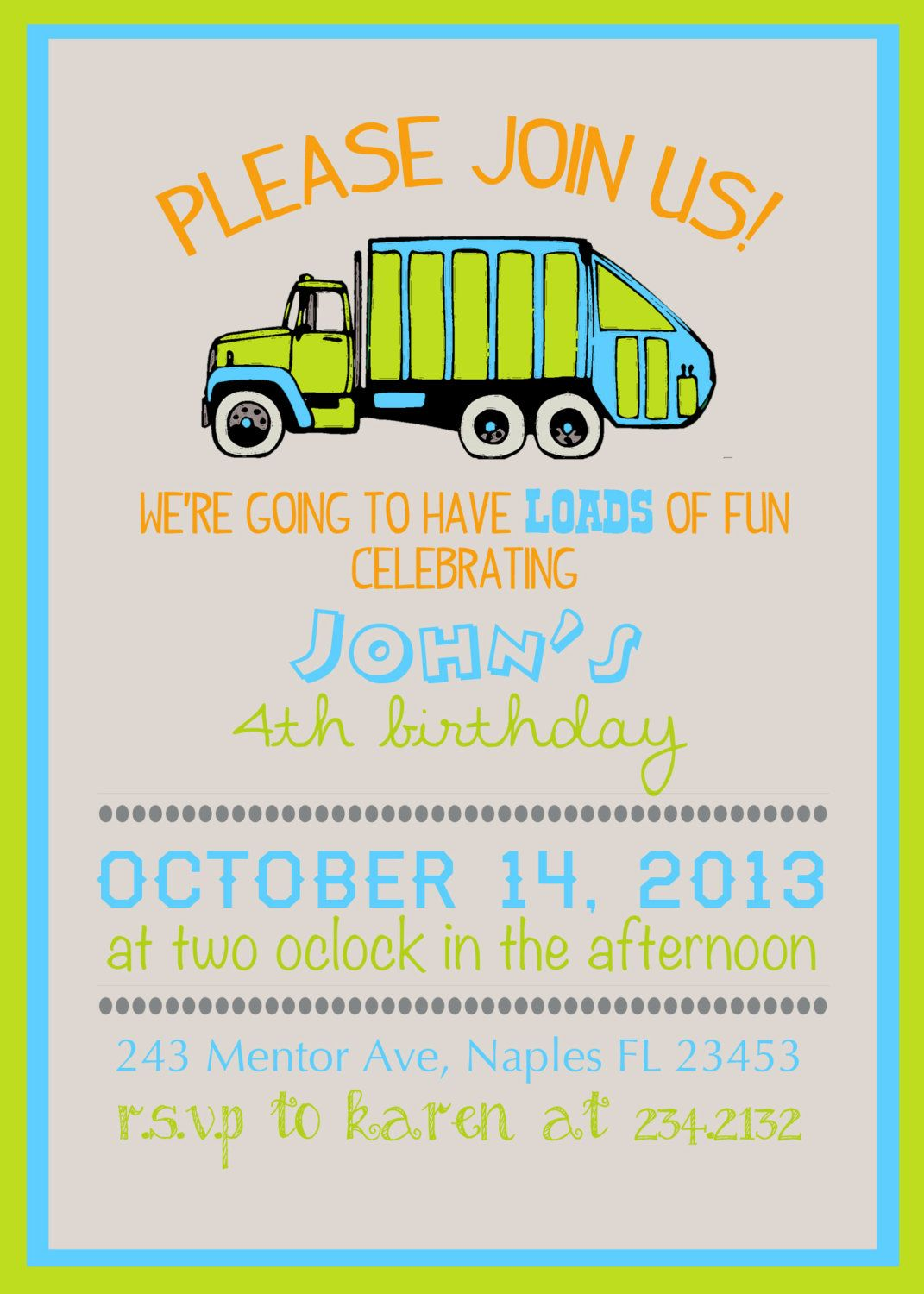 Loads of fun garbage truck birthday invite, personalized and ...