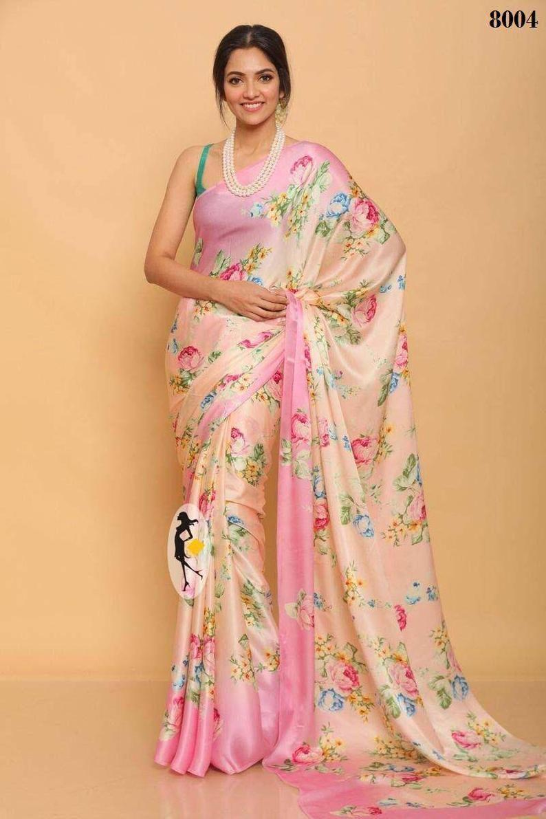 designers saree saree blouse bridal saree Soft satin silk saree sky blue saree flowers print saree women saree digital printed saree