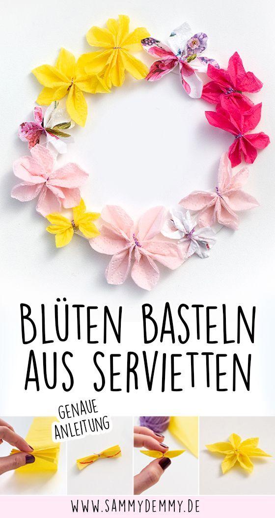 Muttertag, Muttertagsgeschenk, Muttertag basteln mit Kindern, Blumen basteln, Blumen basteln mit Kindern, Blumen aus Papier, Blumen aus Servietten, Blüten basteln, Blumen Deko #frühlingblumen