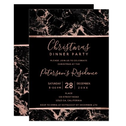 Black rose gold marble typography Christmas Card - marble gifts - invitation template nature