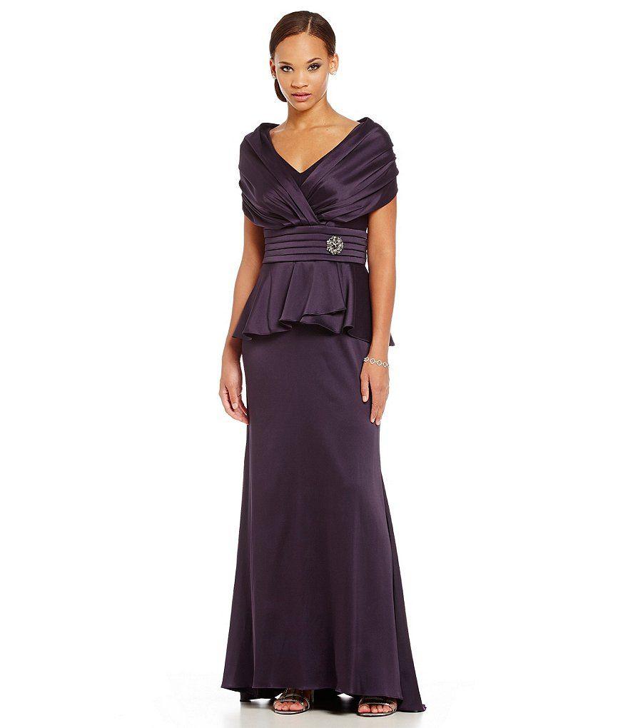 Ignite Evenings Portrait-Collar Mock 2-Piece Gown