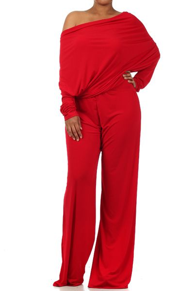 Plus Size Red Off The Shoulder Long Sleeve Jumpsuit   Sleeve, The ...