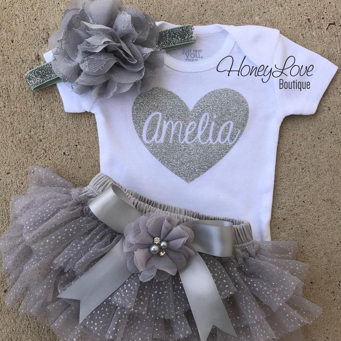 Personalized Name inside Heart – Gray and Silver Glitter – embellished tutu skirt bloomers