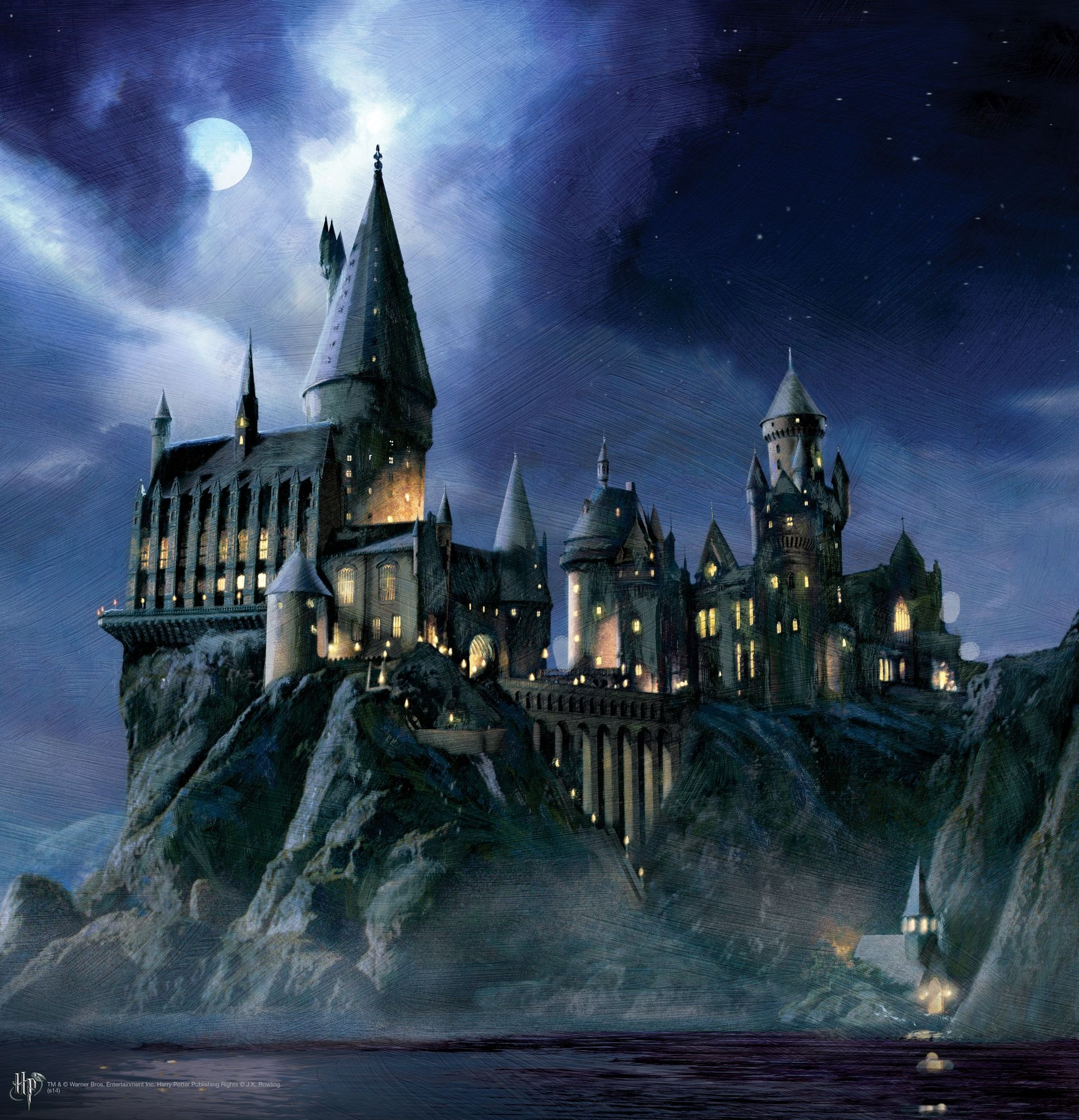 Hogwarts at Night Painting wall mural | Kai's Room