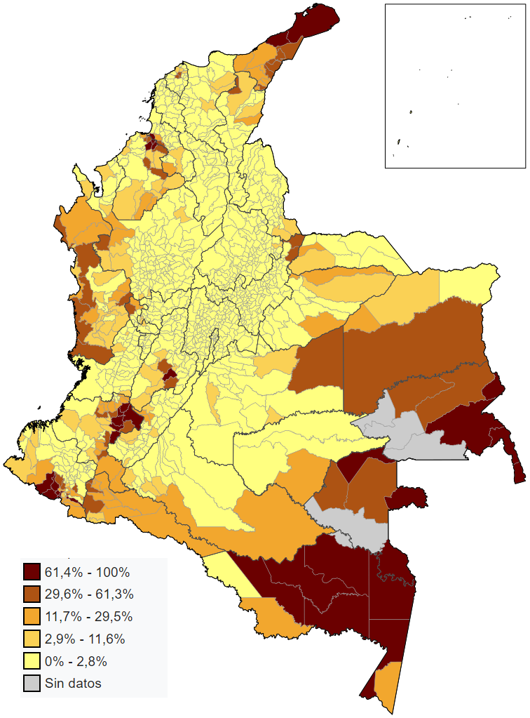 Indigenous Population Of Colombia By Municipality Maps Of South - South american population map