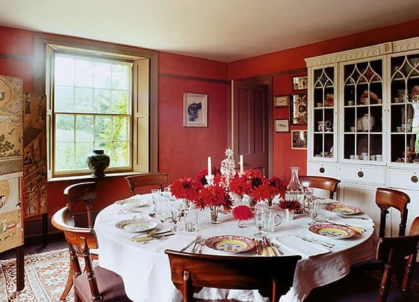 Edward Hursts Red Dining Room In Dorset