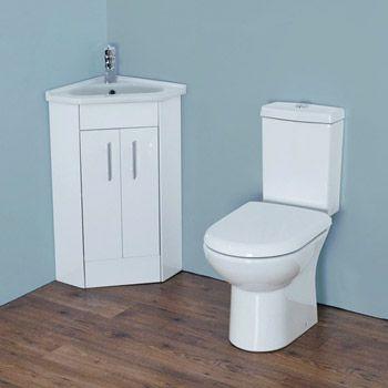 Alaska Cloakroom Suite With Corner Basin At Victorian Plumbing Now Short Projection Toilet Corner Vanity Unit Small Rustic Bathrooms