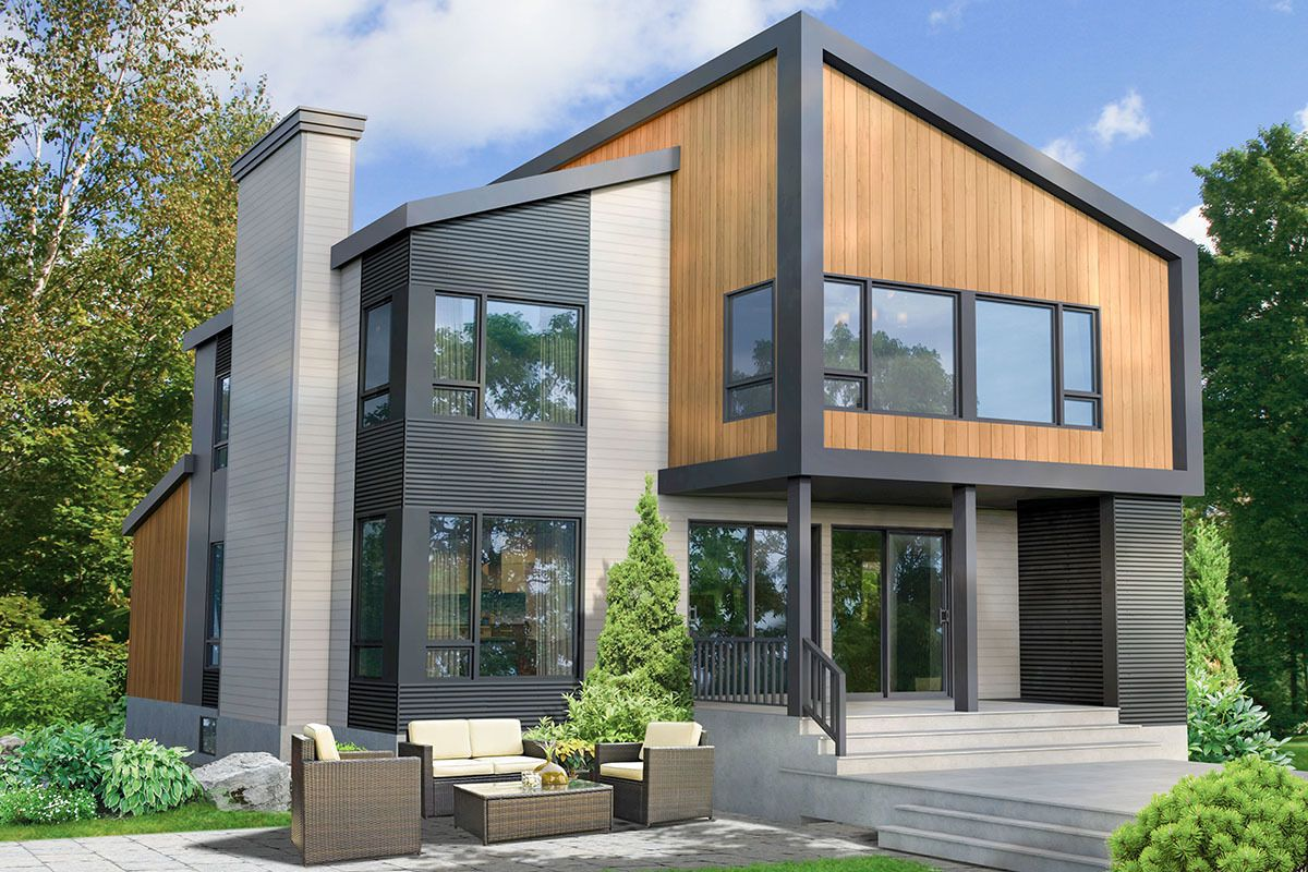 Plan 80953pm Two Story Modern House Plan With 3 Beds Upstairs Industrial House Exterior Contemporary House Exterior Contemporary House Plans