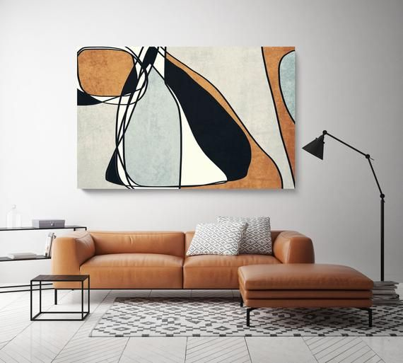 Line Art Modern Coper Black Canvas Art Print Scandinavian Etsy Dipinti Su Tela Astratti Arte Minimalista Arte Astratta Moderna