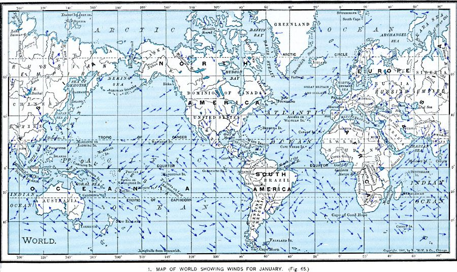 Prevailing wind directions, January - 1901 map #map #world ... on