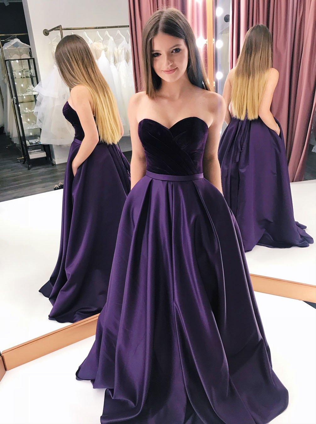 Elegant Purple Satin Sweetheart Long Prom Dresses With Pockets Op452 Sweetheart Prom Dress Satin Prom Dress Purple Prom Dress