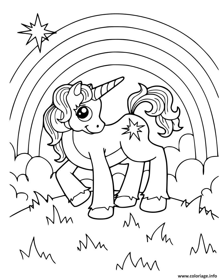 Coloriage Licorne Avec Arc En Ciel A Imprimer   Licorne coloriage ...