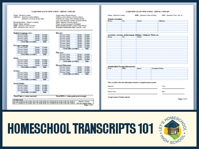 Homeschool transcripts 101 extracurricular activity for Official transcript template