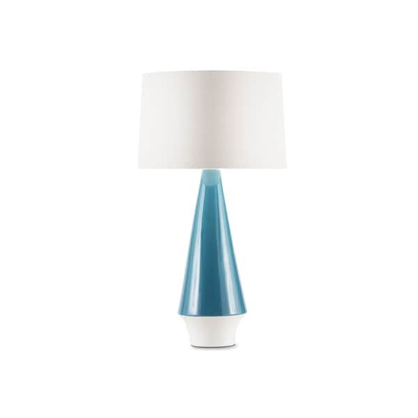 Buoy White Linen Shade And Teal Ceramic Table Lamp Kbk Decor Ideas