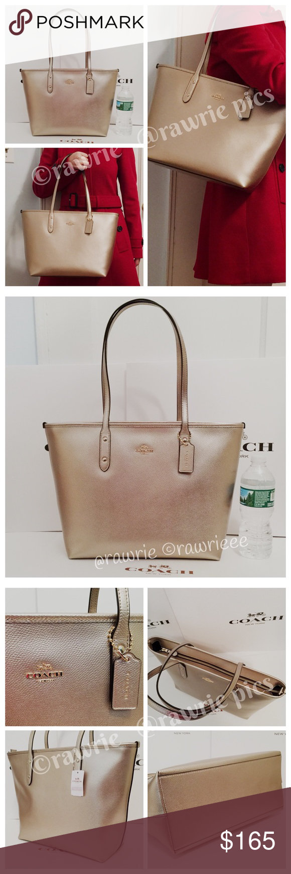 bc3fd723 New Coach metallic leather city zip tote 100% authentic. Crossgrain ...