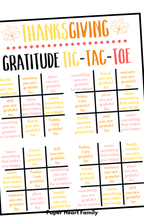 Thanksgiving Tic-Tac-Toe Gratitude Activity For Kids |