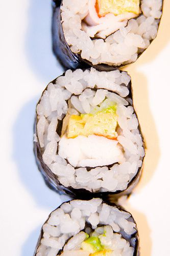 Stoplight Roll- Avocado, Tamago, Imitation Crab