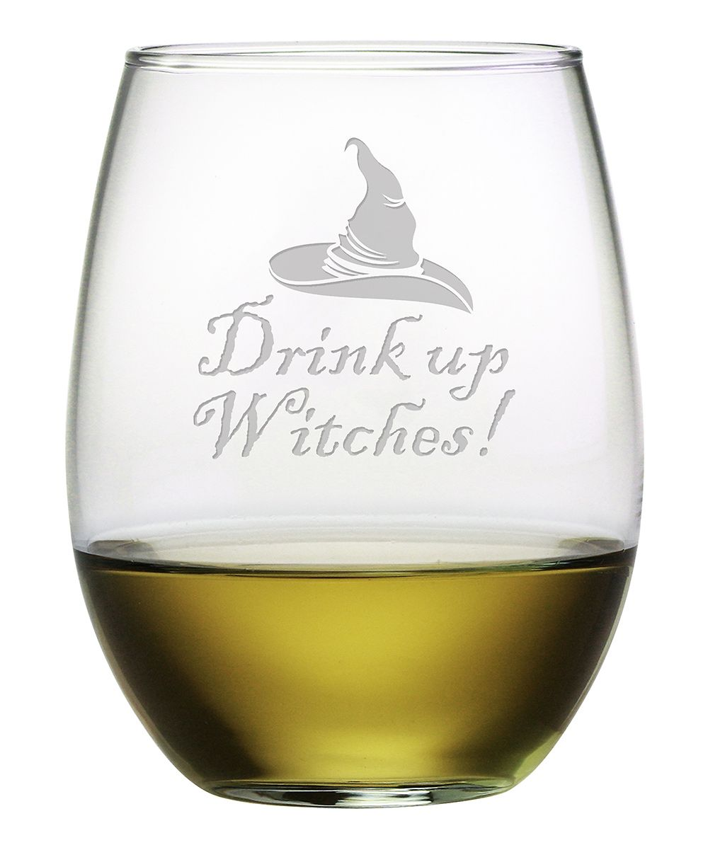 'Drink Up Witches' Stemless Wineglass - Set of Four