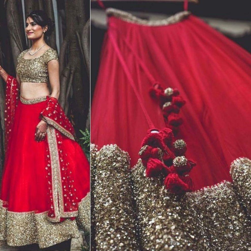 9f3dae4a92a Red and Golden umbrella styled lehenga choli Product Info : Raw silk semi  stitch Lengha up
