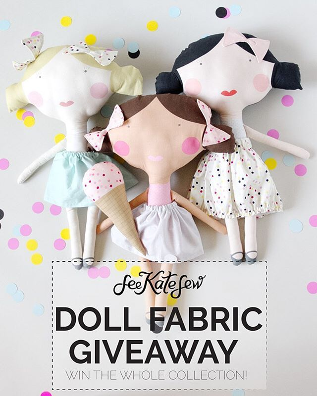 👧🏼👧🏻👧🏽 DOLL FABRIC GIVEAWAY!! 👦🏻👦🏽👦🏼 Here's your chance to win the ENTIRE #seekatesewdollfabric line! It's 9 delicious yards of fabric that includes a total of 6 dolls, 3 yards of sprinkles, 3 yards of waffle cones and endless possibilities! 🍦🍦🍦 One lucky winner will take it all home!  To enter: Like this post and follow @seekatesew, then leave a comment below! That's it! For extra entries tag a friend in a separate comment! Tag as many friends as you want for more entires…