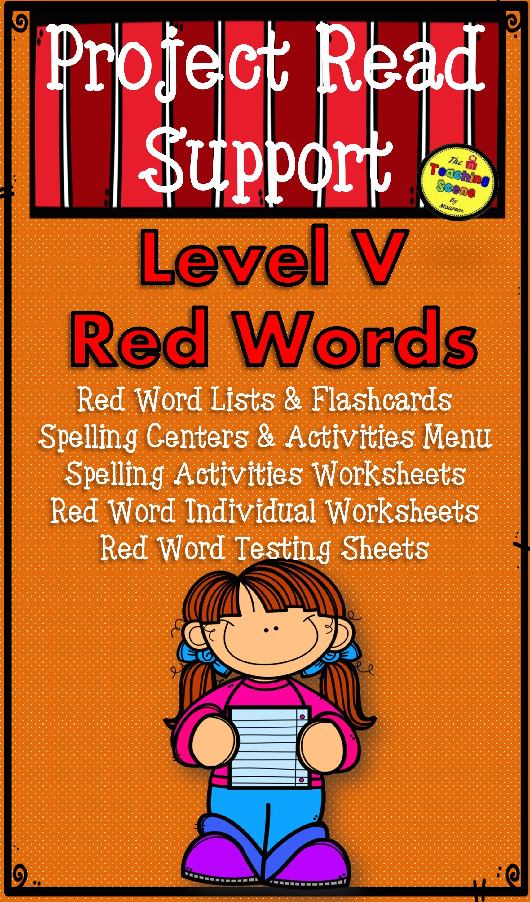 Project Read Support Red Word Level V Centers Activities