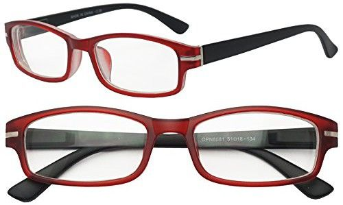 55401da342 Classic Rectangular Negative Strength Prescription Eyewear Glasses Power -1.00  thru -2.25 (Red