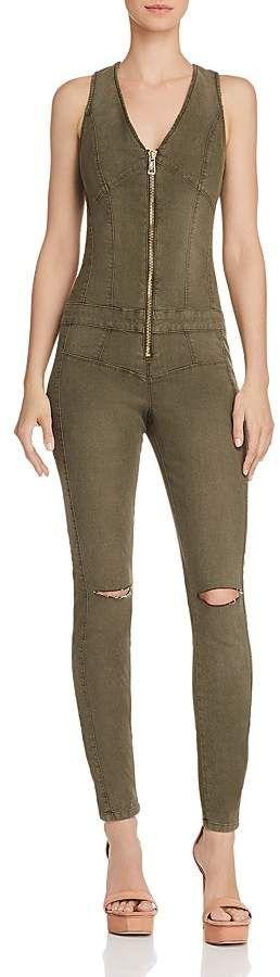 b511e15830c3 GUESS Maxine Zip-Front Denim Jumpsuit