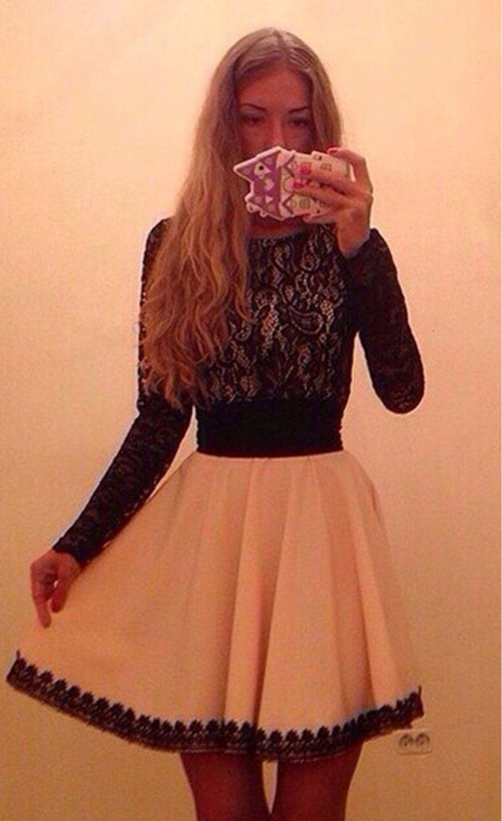 long sleeve lace chiffon patchwork elegant dress stella la