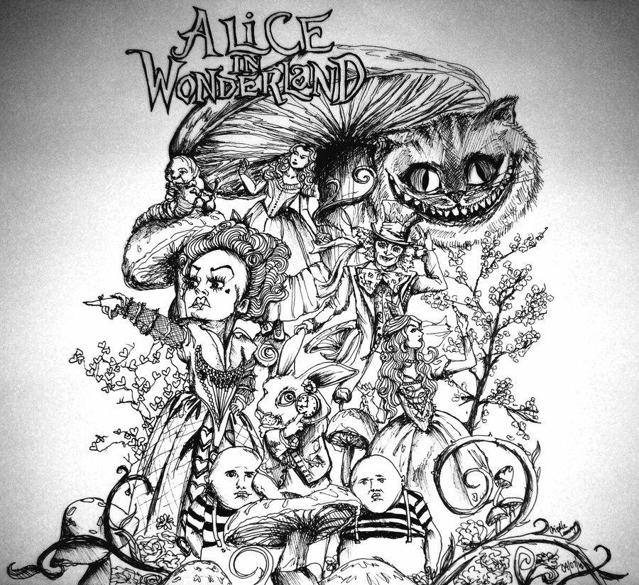 Alice and wonderland drawings alice in wonderland by for Art drawing ideas for adults