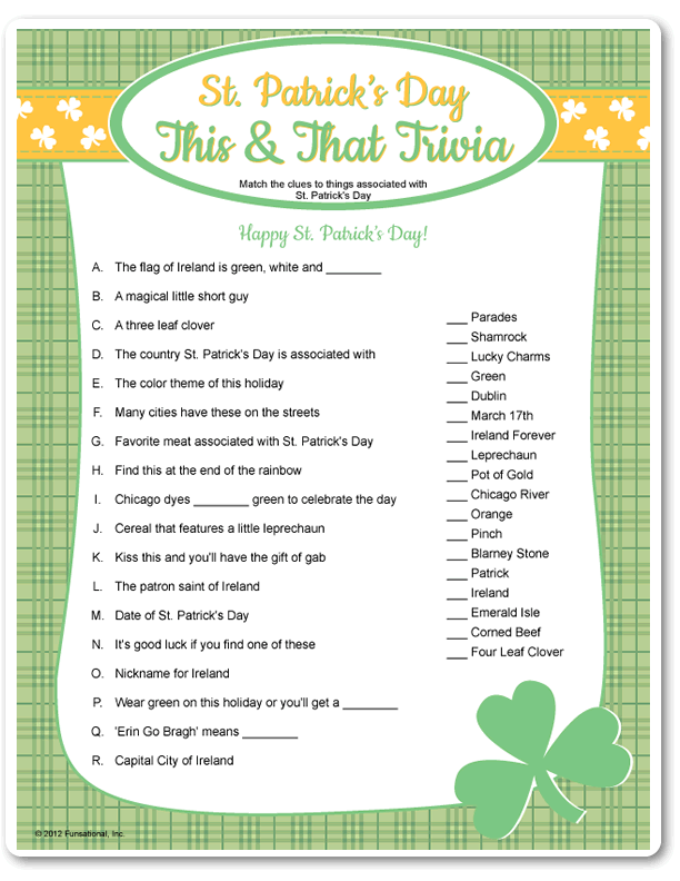 picture about St Patrick Day Trivia Questions and Answers Printable named Eco-friendly Trivia for Trivia Functions and St. Patricks Working day camp