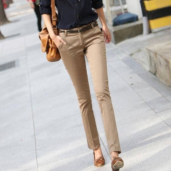 business casual work outfit khaki pants navy blue button