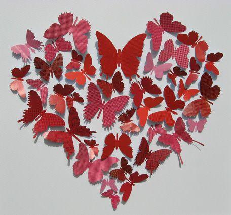 heart made of paper butterflies
