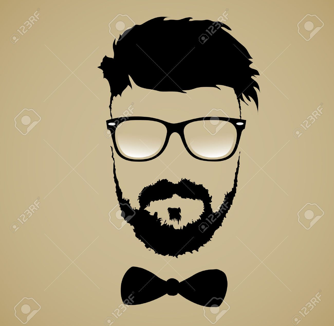 mustache beard glasses hairstyle royalty free cliparts, vectors