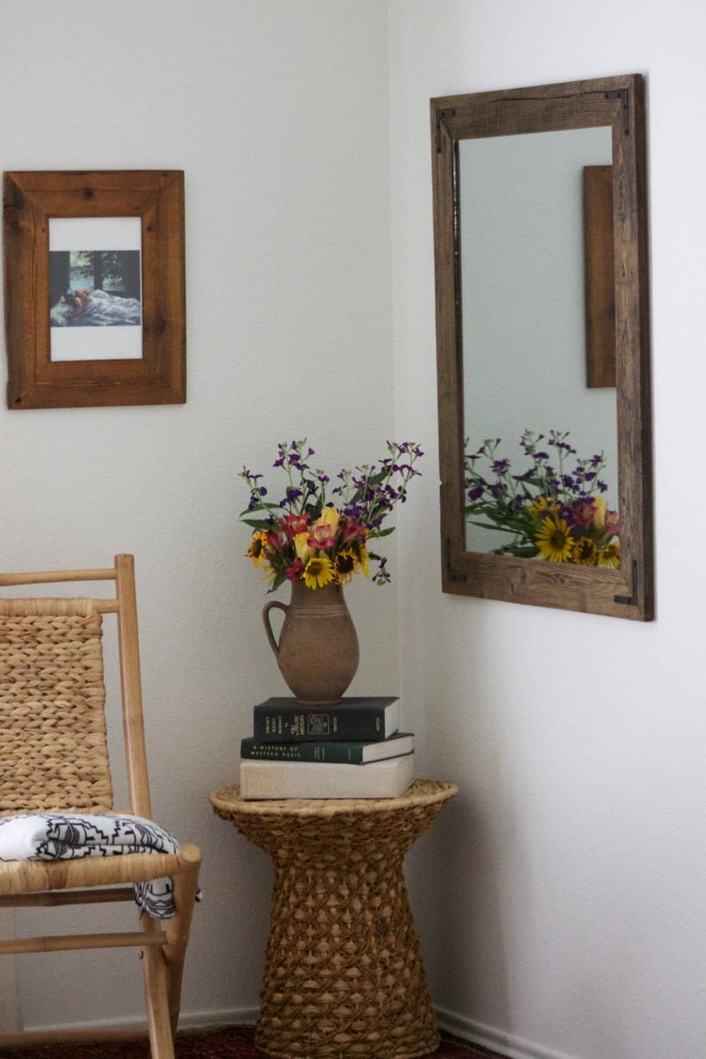 30 X 36 Rustic Wood Mirror Hurd Honey Reclaimed Wood Mirror Rustic Wall Mirrors Wood Wall Mirror [ 1191 x 794 Pixel ]