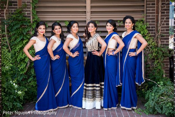 Indian Bridesmaids Outdoor Photography After Wedding Ceremony