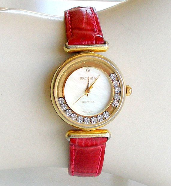 Vintage Womens Watch Becora Gold Clear Rhinestones Red Leather Band MOP Face