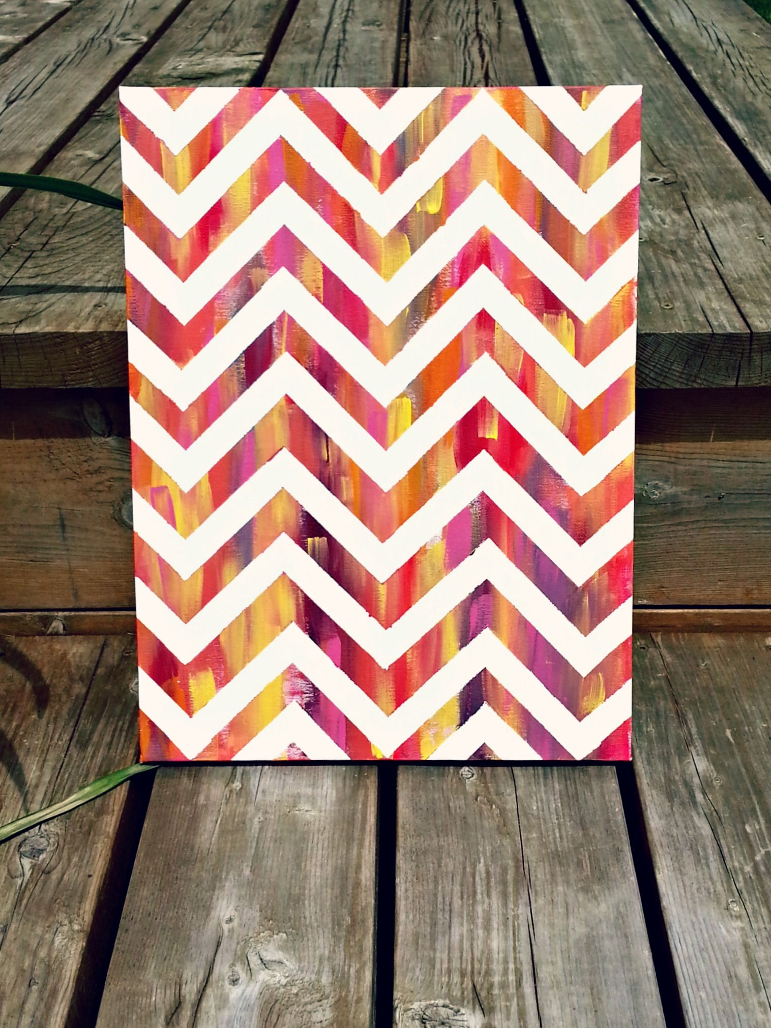 Easy masking tape and paint wall art canvas DIY