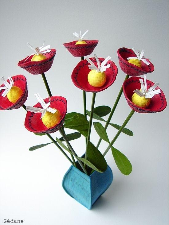 Diy bouquet en carton flowers pinterest jeux enfants petite fleur et fleur - Fleur en carton ...