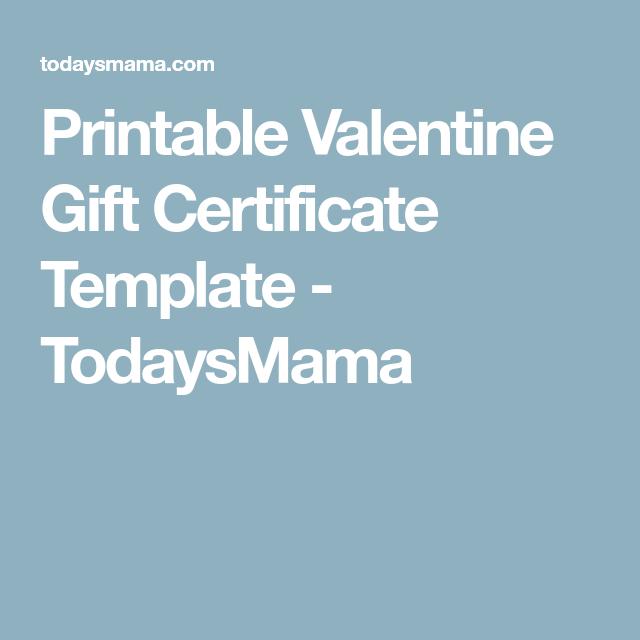Printable Valentine Gift Certificate Template My Diy Pinterest
